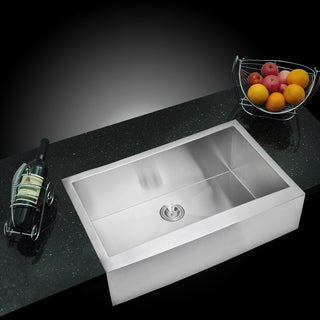 Water Creation Zero Radius Single Bowl Stainless Steel Handmade Apron Front Kitchen Sink