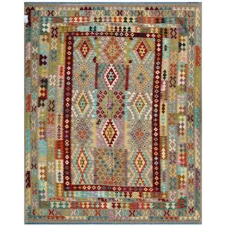 Afghan Hand-woven Kilim Light Grey/ Maroon Wool Rug (8' x 10')