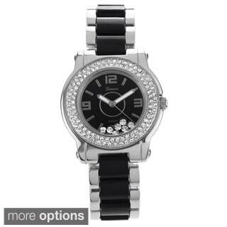 Geneva Platinum Women's Cubic Zirconia Stainless Steel Link Watch