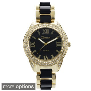 Geneva Platinum Women's Cubic Zirconia Link Watch
