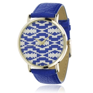 Geneva Platinum Women's Blue Faux Leather Band Watch