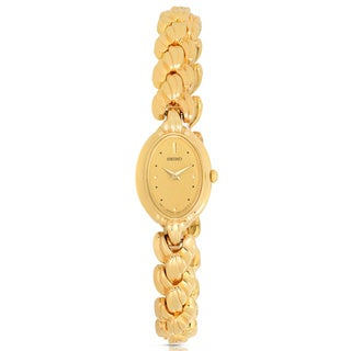 Seiko Women's Gold-Tone Stainless Steel Oval Watch
