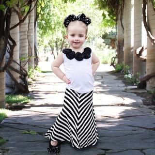 Girl's Black and White Chevron Maxi Skirt