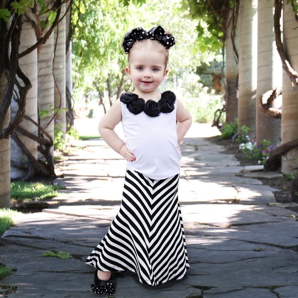 Girl's Black and White Chevron Maxi Skirt