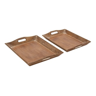 Brown Wooden Trays (Set of 2)