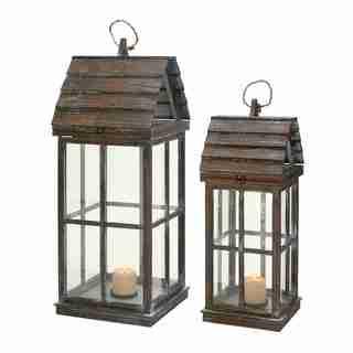 Lanterns Unique House Shape with Wooden Finish - Set of 2