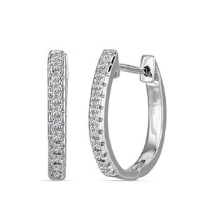 10k White Gold Children's Round-cut Diamond Accent Hoop Earrings