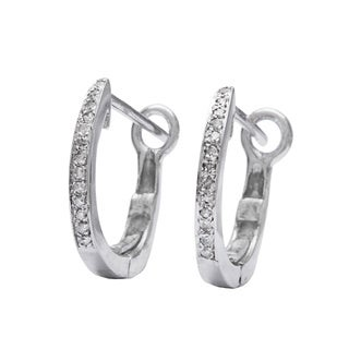 10k White Gold Children's Diamond Accent Hoop Earrings
