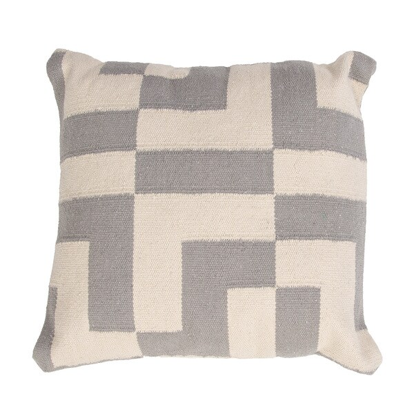 Handmade Gray/ Ivory/ White Cotton 18x18-inch Throw Pillow