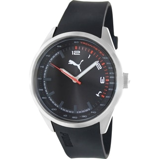Puma Men's Black Silicone Black Dial Stainless Steel Analog Quartz Watch