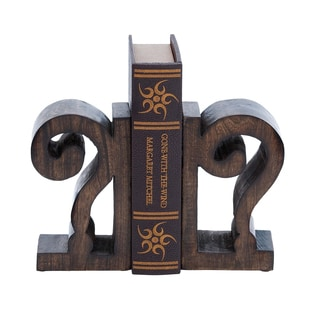 Design Wood Book End Pair in Rich Brown Finish