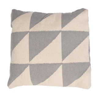 Handmade Gray/ Ivory/ White Cotton 18x18-inch Throw Pillow