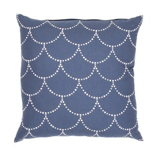 Handmade Blue and White Cotton/ Flax 18x18-Inch Pillow