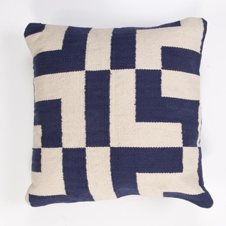 Handmade Blue/ Ivory/ White Cotton 18x18-inch Throw Pillow