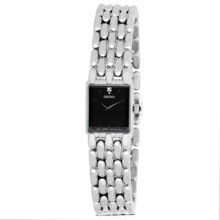 Seiko Women's Black Square Dial Stainless Steel Watch