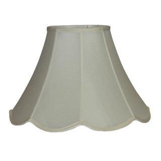 Crown Lighting Cream Pongee Silk Scalloped Bell Lampshade