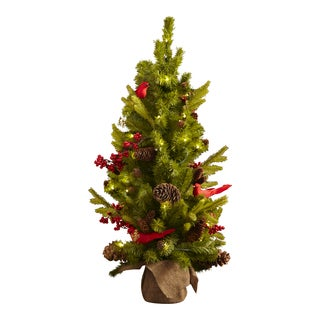 Natural Pine & Berry Tree with Cardinals and LED Battery Lights