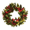 Appalachian Lodge Natural Pine and Berry Wreath with Cardinals and LED Battery Lights