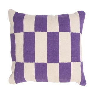 Handmade Purple and Ivory Cotton 18x18-inch Throw Pillow