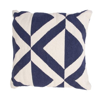 Handmade Blue and White Cotton 18x18-inch Throw Pillow