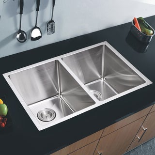 Water Creation 50/50 Double Bowl Stainless Steel Undermount Kitchen Sink With Drains and Strainers