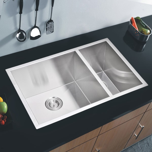 Http Www Overstock Com Home Garden Water Creation 70 30 Double Bowl Stainless Steel Undermount Kitchen Sink With Drains And Strainers 8629290 Product Html