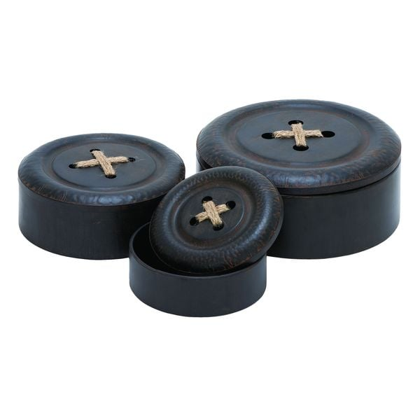 Metal Button Storage Containers (Set of 3)