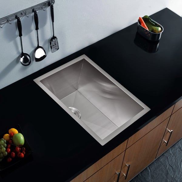 Water Creation Zero Radius Single Bowl Stainless Steel Undermount Bar Sink With Drain and Strainer