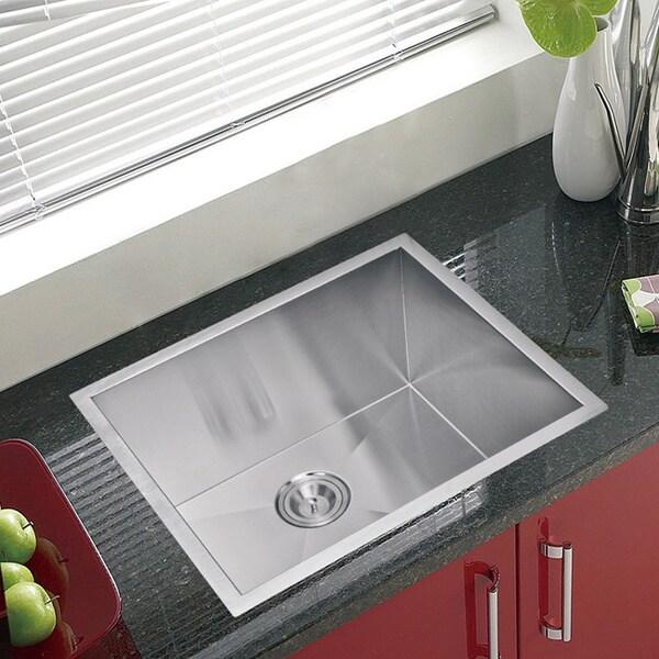 Water Creation Zero Radius Single Bowl Stainless Steel Undermount Kitchen Sink With Drain and Strainer