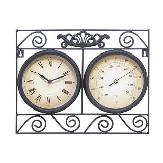 Metal Outdoor Clock with Thermometer