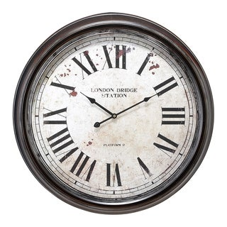 Gracewood Hollow Tantaquidgeon Metal Wall Clock with Big Roman Numbers