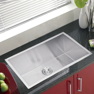 Water Creation Zero Radius Single Bowl Stainless Steel Undermount Kitchen Sink With Drain and Strainer
