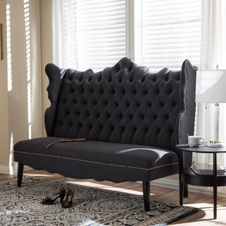 Baxton Studio Witherby Gray Linen Modern Banquette Bench