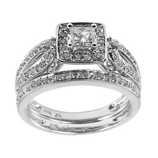 14k White Gold 1ct TDW Princess Cut Diamond Bridal Set (H-I, I1-I2)