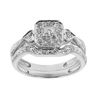 10k White Gold 1/3ct TDW Heart Side Stones Bridal Set (H-I, I1-I2)