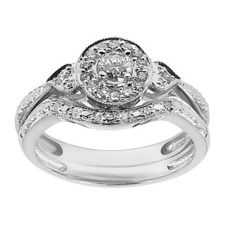 10k White Gold 1/3ct TDW Diamond Heart Side Stone Bridal Set (H-I, I1-I2)