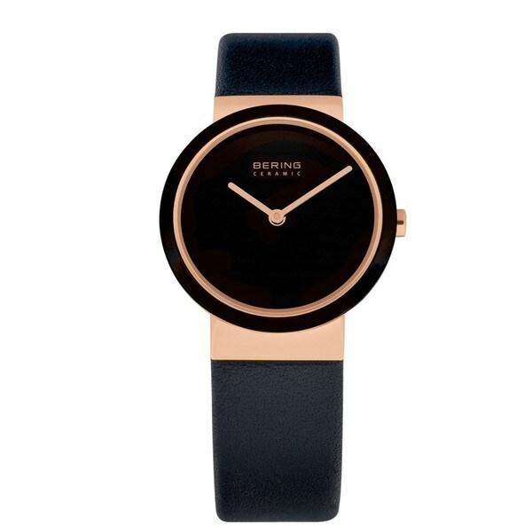 Bering Time Women's 10729-446 Ceramic Black Calfskin Watch