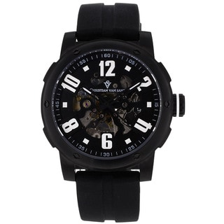 Christian Van Sant Men's Black Skeleton Watch