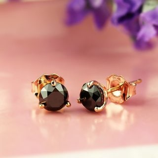 Auriya 14k Rose Gold Black Diamond Martini-Set Stud Earrings