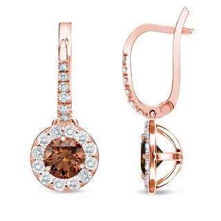 Auriya 14k Rose Gold Brown Diamond Leverback Earrings (SI1-SI2)