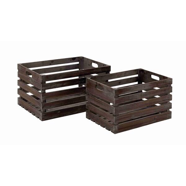 wood wine crates set of 2 15894008. Black Bedroom Furniture Sets. Home Design Ideas