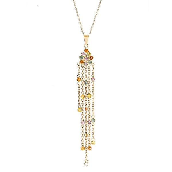 14k Yellow Gold Round-cut Multi-sapphire Pendant Necklace