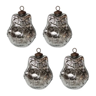 Silvertone Owl Ornament Set (Set of 4)