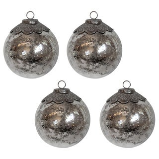 Filigree Topped Antiqued Silvery Ornaments (Set of 4)