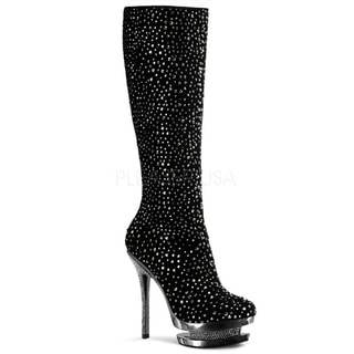 Pleaser Day & Night Women's 'Fantasia-2010R' Rhinestone Studded Knee-high Boots