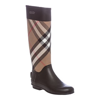 Burberry Women's Black/ House Check Panel Rain Boots