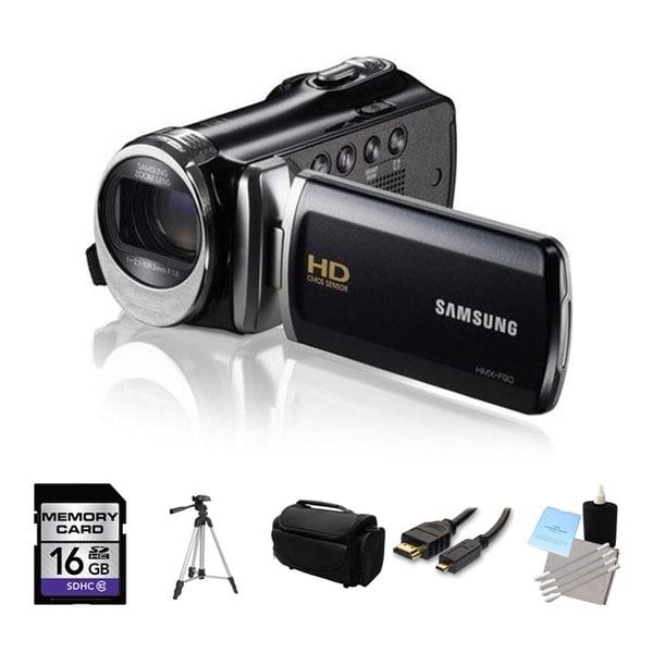 Samsung HMX-F90 High Definition Black Camcorder 16GB Bundle