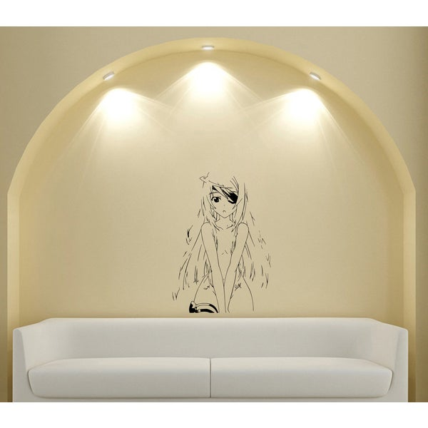 Japanese Manga Closed Eyes Girl Vinyl Decal Sticker