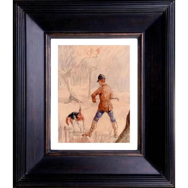 Henri de Toulouse Lautrec 'Chasseur et chien' Giclee Framed Art