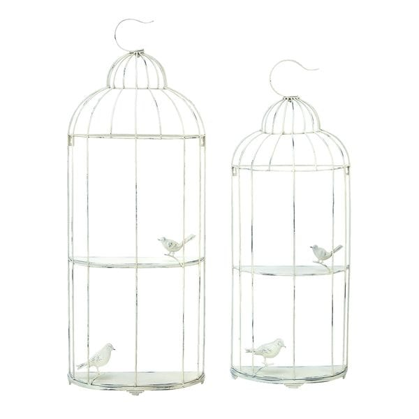 Metallic Silver Bird Cage Shelf (Set of 2)
